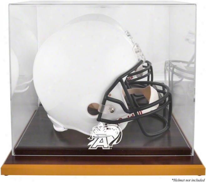 Army Black Knights Logo Helmet Display Case  Details: Wood Base, Mirrored Back