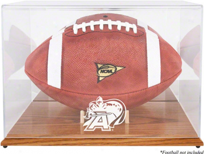Army Black Knights Team Logo Football Display Case  Details: Oak Base, Mirror Back