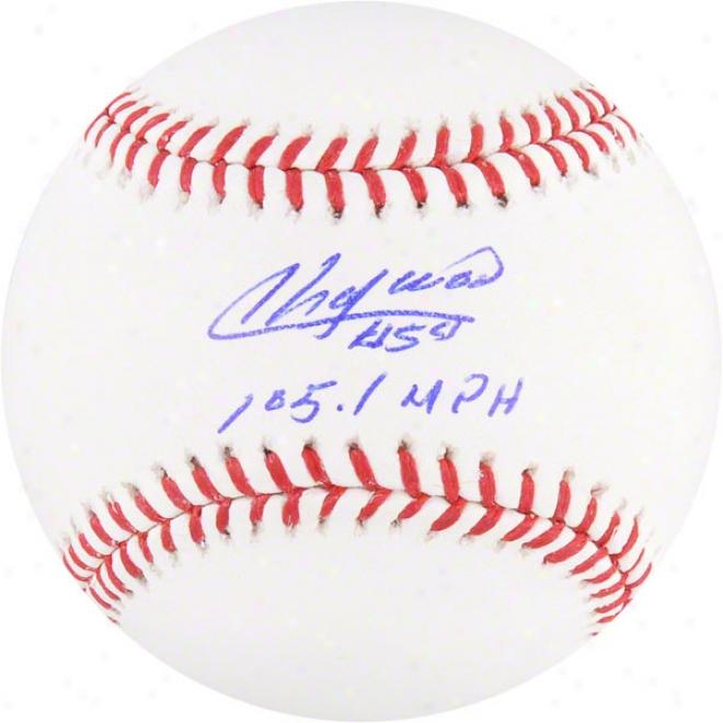 Aroldis Chapman Autographed Baseball  Details: Cincinnati Reds, 105.1 Mph Inscription