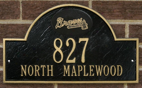 Atlanta Braves Black And Gold Personalized Address Wall Plaque