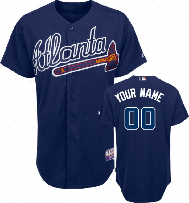 Atlanta Braves - Personalized With Your Name - Authentic Refrigerate Baseã¢â�žâ¢ Alternate Navy On-field Jersey