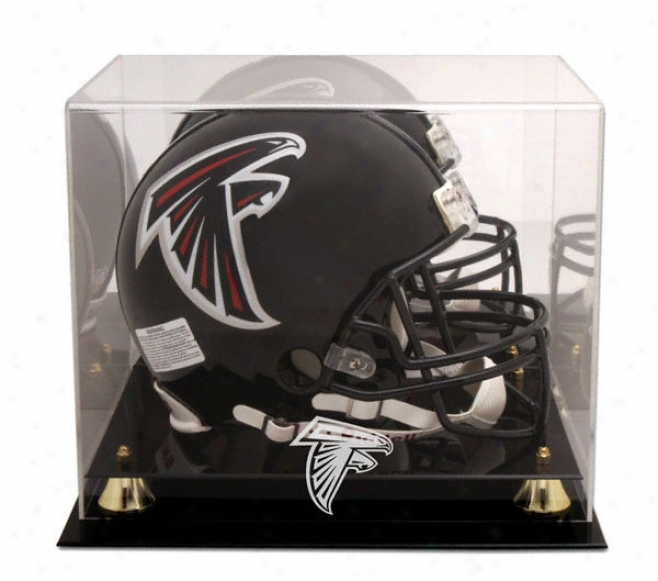 Atlanta Falcons Golden Classic Helmet Display Case And Mirror Back