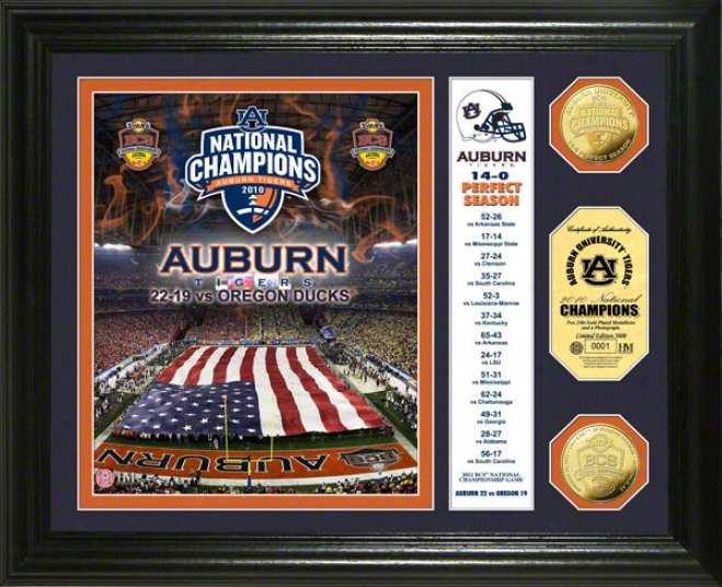 Auburn Tigers 2010 Bcs National Chaampions 24kt Gold Coin Photo Mint