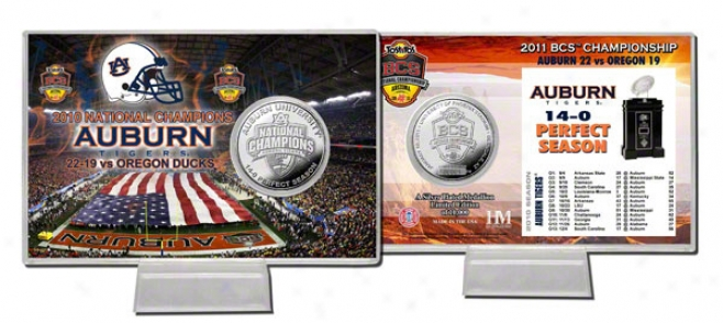 Auburn Tigers 2010 Bcs National Champions Silver Coin Card