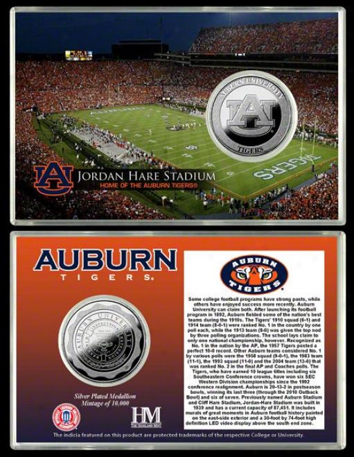 Auburn Tigers Jordan Hare Stadium Silver Coin Card