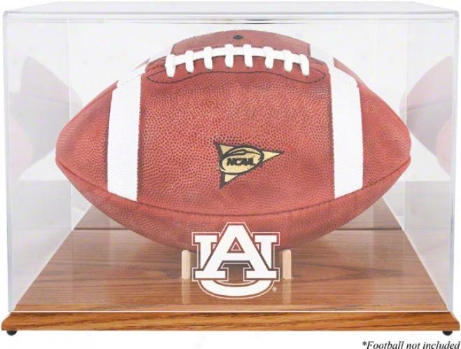 Auburn Tigers Team Logo Football Display Case  Details: Oak Base
