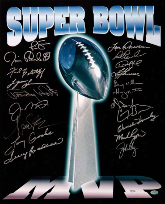 Autographed Super Bowl Trophy 16x20 Picture