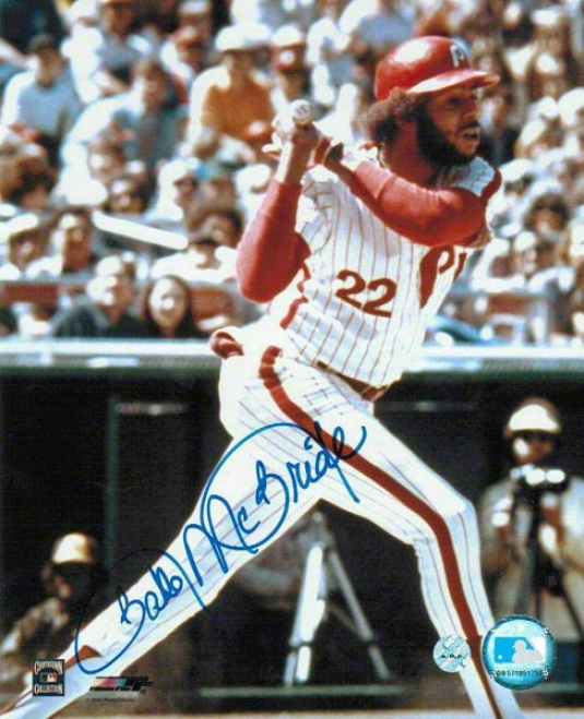 Bake Mcbride Autographed Philadelphia Phillies 8x10 Inscribed