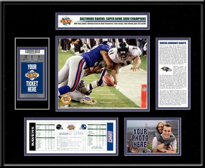 Baltimore RavensS upe5 Bowl Xxxv Champions Ticket Frame