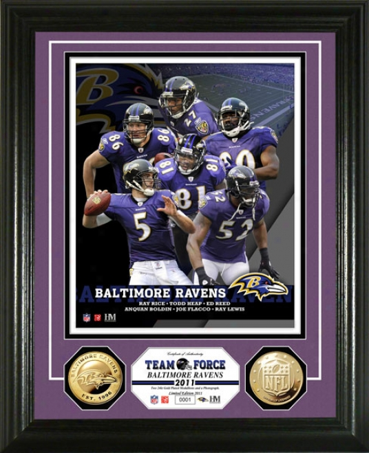 Baltimore Ravens Team Impel 24kt Gold Coin Photo Mint