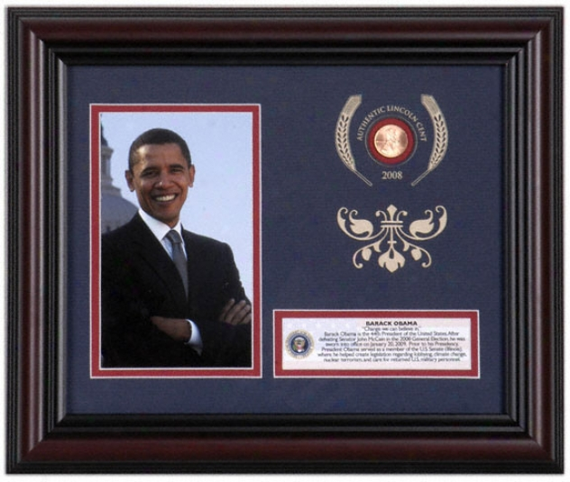 Barack Obama Framed 4x6 Photograph With 2008 Linvoln Penny