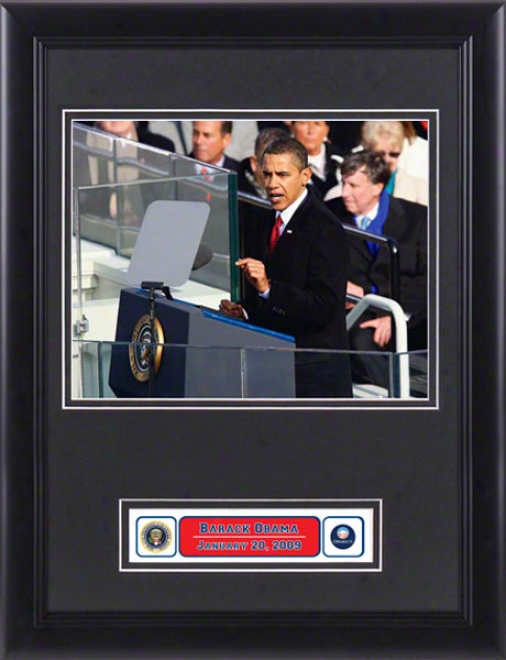 Barack Obama - Inauguration Superscription - Framed Photograph