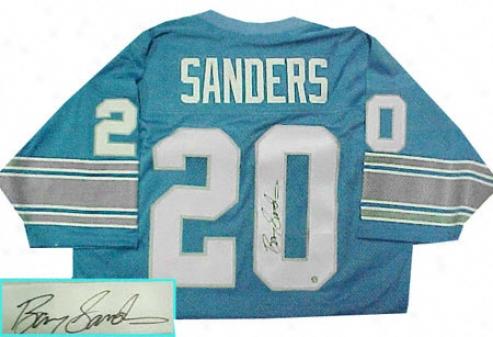 Barry Sanders Autographed Blue Custom Style Jersey