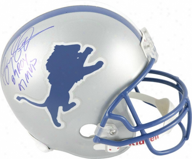 Barry Sanders Autographed Helm  Details: Detroit Linos, Riddell Replica Helmet, 89 Roy And 97 Mvp