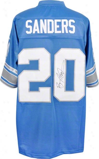 Barry Sanders Autographed Jersey  Details: Detroit Lions, Blue, Eqt Jersey