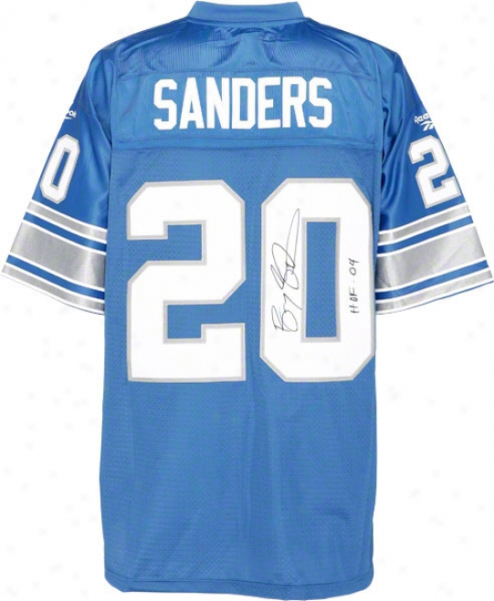 Barry Sanders Autographed Jersey  Details: Detroit Lions, Eqt, Hof 04 Inscription