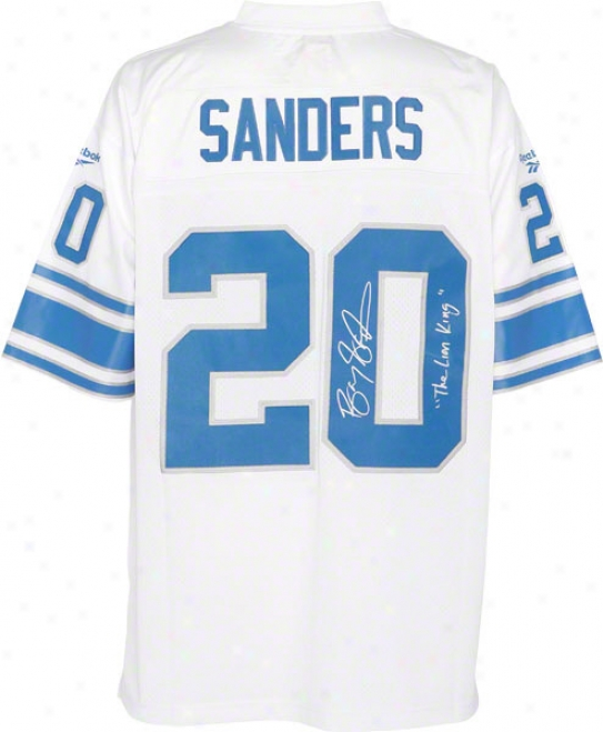 Barry Sanders Autographed Jersey  Details: Detroit Lions, Eqt, The Lion King Inscription
