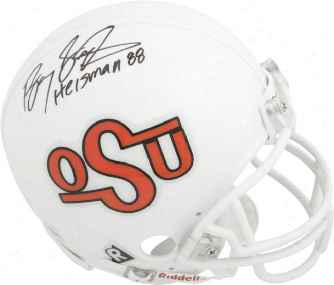 Barry Sanders Oklahoma State Cowboys Autograph3d Throwback Osu Mini Helmet With Hejsman 1988 Inscription