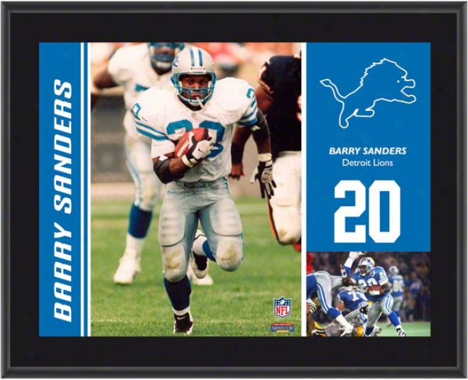 Bafry Sanders Plaque  Details: Detroit Lions, Sublimated, 10s13, Nfl Plaque