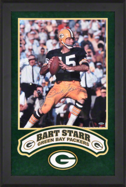 Bart Starr Deluxe Framer Autographed 16x20 Photograph  Details: Green Bay Packers, Vertical