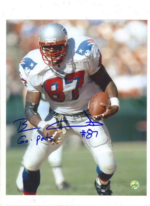 Ben Coates Autographed New England Patriots 8x10 Photo Inscribed &quotgo Pats!&quot