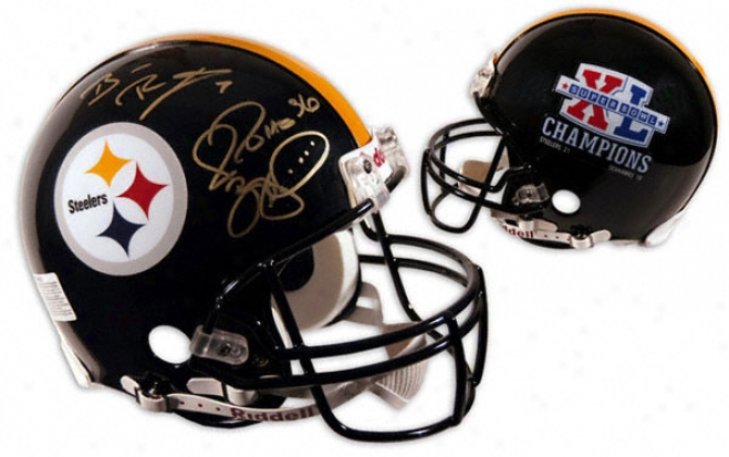 Ben Roethlisberger And Jerome Bettis Autographed Pro-line Helmet  Dstails: Sb Xl Logo, Authentic Riddell Helmet