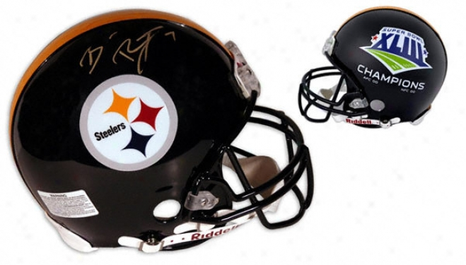 Ben Roethlisberger Autographed Pro-line Helmet  Details: Pittsburgh Steelers, Super Bowl Xliii Steelers Logo Score, Authentic Riddell Helmet