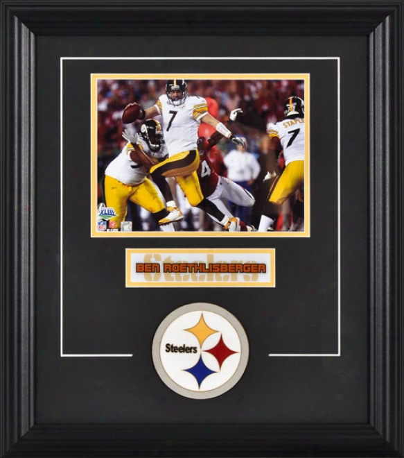 Ben Roethlisberger Framed 6x8 Photograph Through  Team Logo & Plate