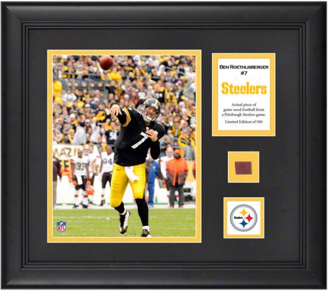 Ben Roethlisberger Framed 8x10 Phorograph  Details: Pittsburgh Steelers, With Game Used Football Piece And Descriptive Plate