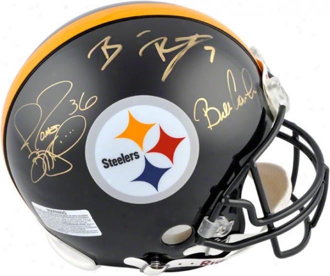 Ben Roethlisberger, Jerome Brttis And Bill Cowher Autographed Pro-line Helmet  Details: Pittsburgh Steelers, Super Bowl, Authentic Riddell Helmet