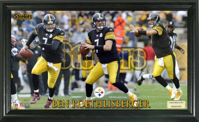 Ben Roethlisberger Pittsburgh Steelers Grjdiron Ace 12x20 Frame