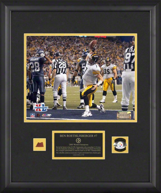 Ben Roethlisberger Pittsburgh Steelers - Super Bowl Xl Champions - Frajed 11x14 Photograph With Game Used 2005 Football