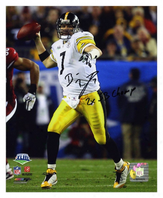 Ben Roethlisberger Pittsburgh Steelers - Super Boql Xliii Champions - Autographed 8x10 Photograph With 2x Super Goblet Champs Inscriptions