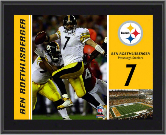 Ben Roethlisberger Plaque  Details: Pittsburgh Steelers, Sublimated, 10x13, Nfl Plaque