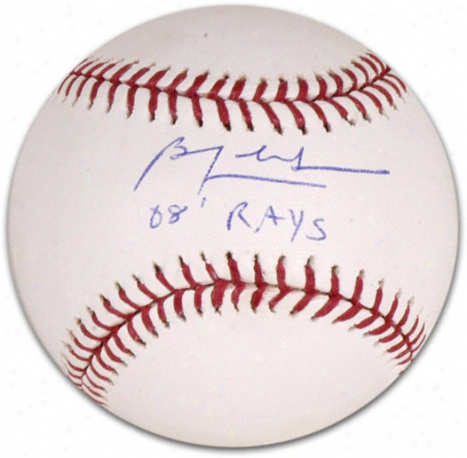 Ben Zobrist Autographed Baseball With 2008 Rays Inscripttion