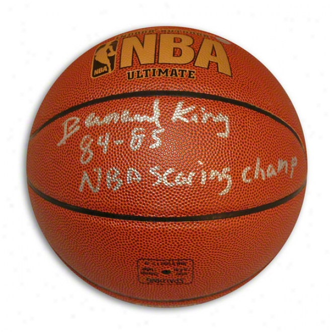 Bernard King Autographed Indoor/outdoor Bwsketball Inscriged 8485 Nba Scoring Champ