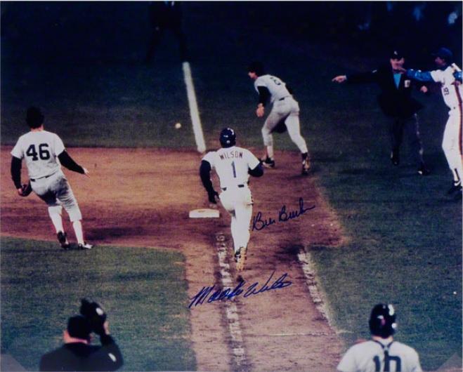 Bill Bucker & Mookie Wilson Autographed 16x20 1986 World Series Photo