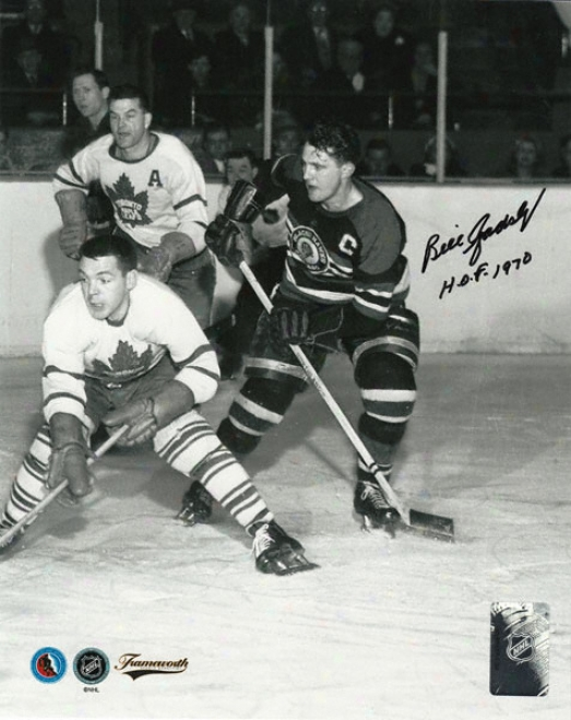 Bill Gadsby Chicago Blackhawks Autographed 8x10 Photograph With Hof '70 Inscription