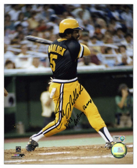 Bill Madlock Pittsburgh Pirates Autographed 8x10 Photograph With 1981 And 1983 Batting Champ Inscription