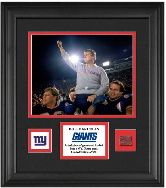Bill Parcells Framed 8x10 Photograph  Details: New York Giants, With Game Used Football Piece And Descriptive Plate