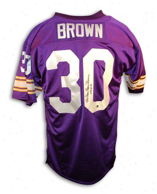 Bill &quotboom Boom&quot Brown Autographed Minnesota Vikings Throwback Jersey Inscribed &quotold # 30&quot