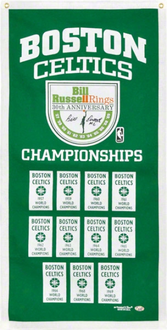 Bill Russell Autographed Championship Banner  Detalis: Boston Celtics, Green, Mitchell & Ness ,With &quot#6&quot Inscription