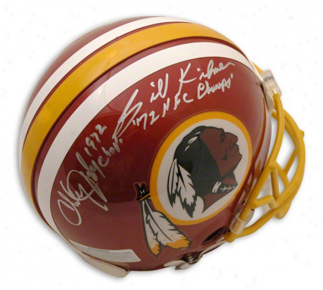 Billy Kilmer And Charley Taylor Autographed Pro-line Helmet  Details: Washington Redskins, Inscribed '72 Nfc Champs, Authentic Riddell Helmet