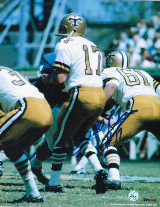Billy Kilmer New Orleans Saints Autographed 8x10 Photo Dropping Back