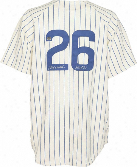 Billy Williams Chicago Cubs Autogrpahed 1969 Home Cooperstown Collection Jersey W/ Inscrjption &quothof 87&quot