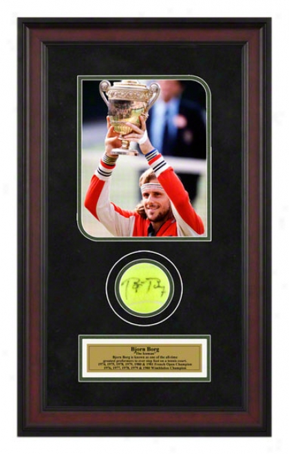 Bjorn Borg 1979 Wimbledon Championships Framed Atugraphed Tennis Ball With Photo