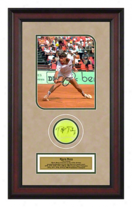 Bjorn Borg 1982 French Open Framed Autographed Tennis Ball With Photo