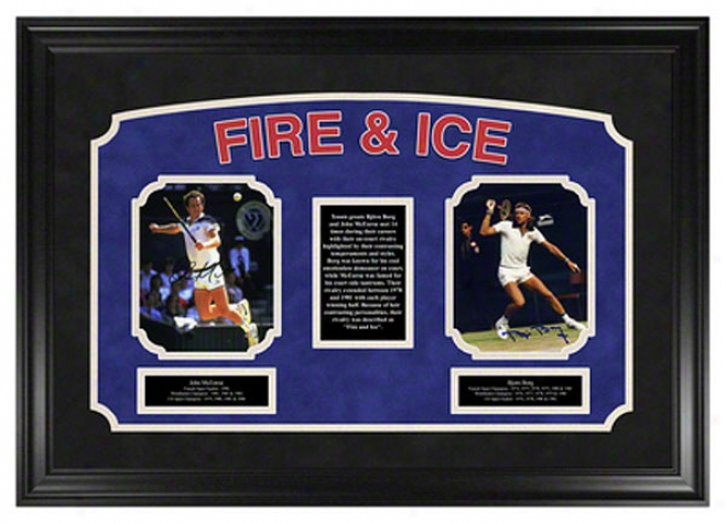 Bjorn Borg And Jojn Mcenroe -fire And Ice Autographed Framed Photographs