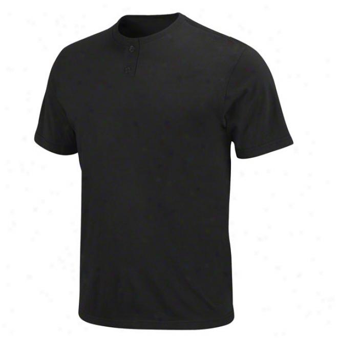 Black Pro Style 2 Button Basic Jersey