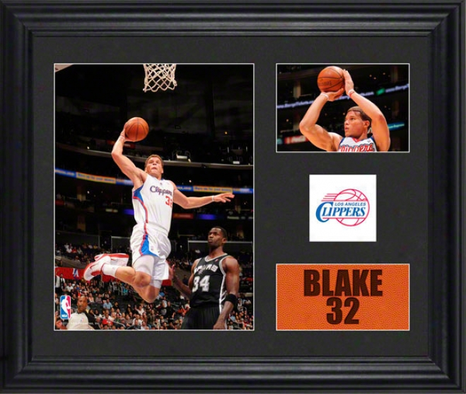 Blake Griffin Framed 2- Photograph Collage  Details: Los Angeles Clippers, Team Logo